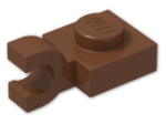 LEGO® Brick: Plate 1 x 1 with Clip Horizontal (Open U-Clip) (6019) | Color: Reddish Brown