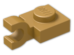 LEGO® Brick: Plate 1 x 1 with Clip Horizontal (Open U-Clip) (6019) | Color: Warm Gold