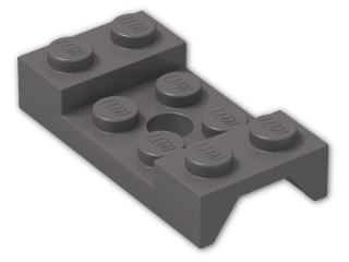LEGO® Brick: Car Mudguard 2 x 4 with Central Hole (60212) | Color: Dark Stone Grey