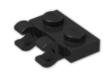 LEGO® Stein: Plate 1 x 2 with 2 Clips Horizontal (Thick C-Clips) (60470b) | Farbe: Black