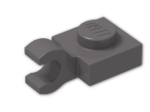 LEGO® Brick: Plate 1 x 1 with Clip Horizontal (Thick C-Clip) (61252) | Color: Dark Stone Grey