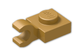 LEGO® Brick: Plate 1 x 1 with Clip Horizontal (Thick C-Clip) (61252) | Color: Warm Gold