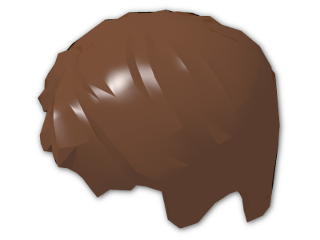 LEGO® Stein: Minifig Hair Short, Tousled with Side Parting (62810) | Farbe: Reddish Brown