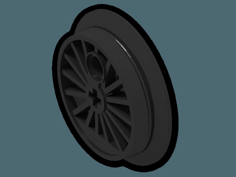Train Wheel Large With Axlehole And Pinhole 85489a Black