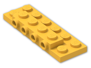 LEGO® Stein: Plate 2 x 6 x 0.667 with Four Studs On Side and Four Raised (87609) | Farbe: Flame Yellowish Orange