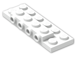 LEGO® Brick: Plate 2 x 6 x 0.667 with Four Studs On Side and Four Raised (87609) | Color: White
