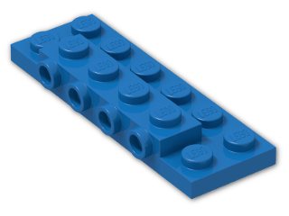 LEGO® Brick: Plate 2 x 6 x 0.667 with Four Studs On Side and Four Raised (87609) | Color: Bright Blue