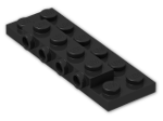 LEGO® Brick: Plate 2 x 6 x 0.667 with Four Studs On Side and Four Raised (87609) | Color: Black