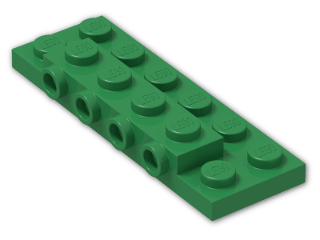 LEGO® Brick: Plate 2 x 6 x 0.667 with Four Studs On Side and Four Raised (87609) | Color: Dark Green