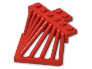 LEGO® Stein: Plate 2 x 6 with Sloped Bars (90201) | Farbe: Bright Red