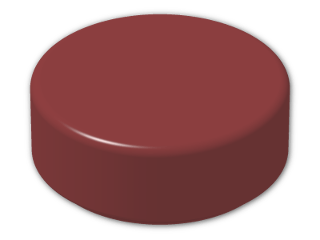 LEGO® Brick: Tile 1 x 1 Round with Groove (98138) | Color: New Dark Red