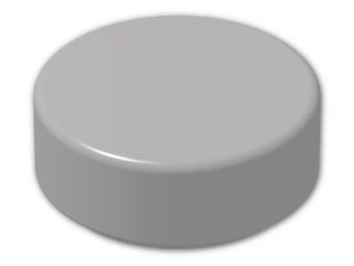 LEGO® Brick: Tile 1 x 1 Round with Groove (98138) | Color: Medium Stone Grey